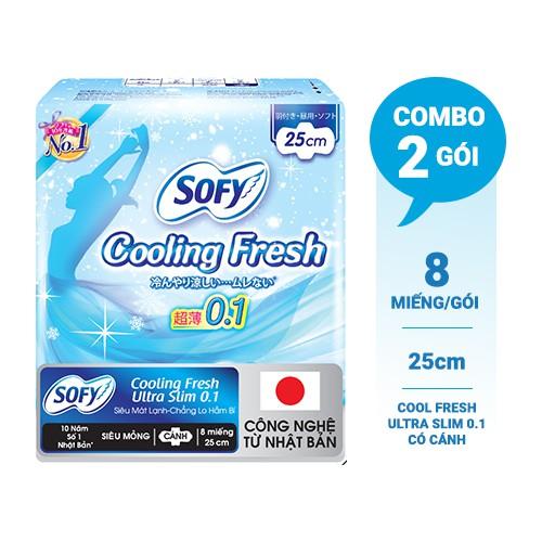 Bộ 2 gói Băng vệ sinh Sofy Cooling Fresh 25cm 8 miếng/ gói