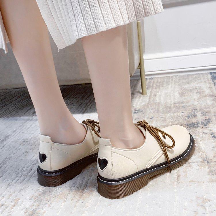 Giày Da Mũi Tròn Cột Dây Thời Trang Thanh Lịch Cho Nữ