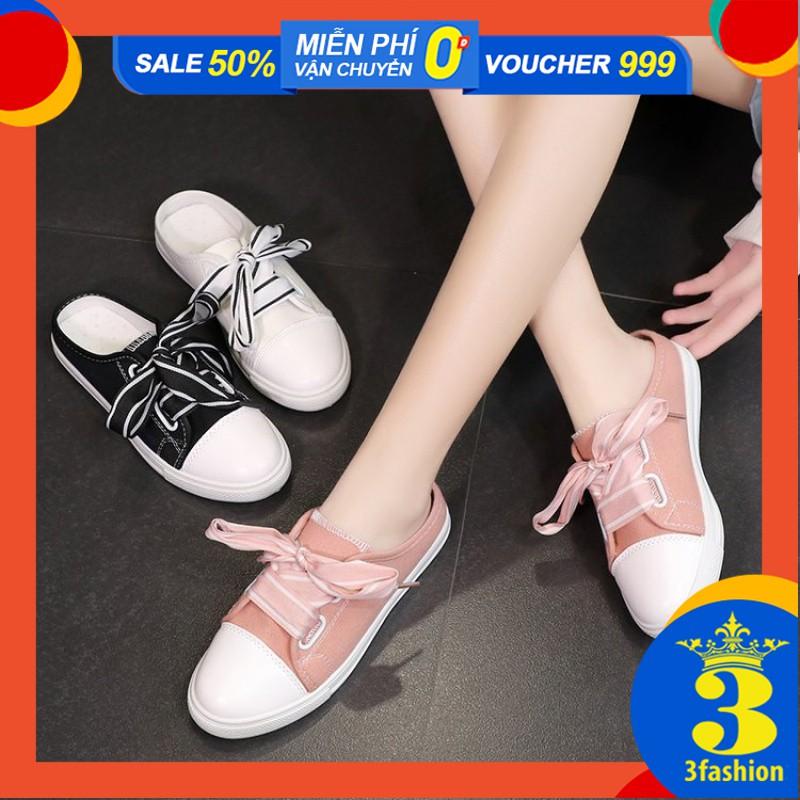 Giày Sục Sneaker Nữ 3Fashion Vải Cao Cấp Thắt Dây Bản To Stye Hàn Quốc Cực Xinh - 3181