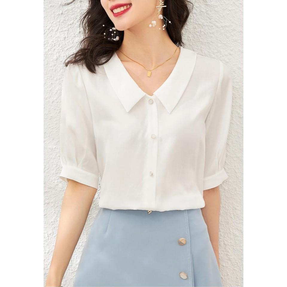 Áo Sơ Mi Nữ Kiểu - Thời trang công sở 2 màu TRẮNG + HỒNG - Xuu Design SP09