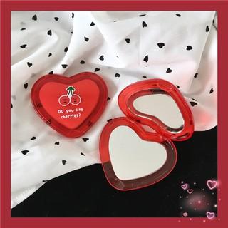 Gương Mini Cầm Tay Hình Trái Tim Cherry Đỏ Xinh Xắn Đáng Yêu