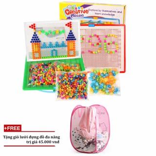 [Tmark Việt Nam]Bộ đồ chơi ghép hạt nhựa Creative Mosaic 296 hạt+ Tặng giỏ lưới đựng đồ đa năng