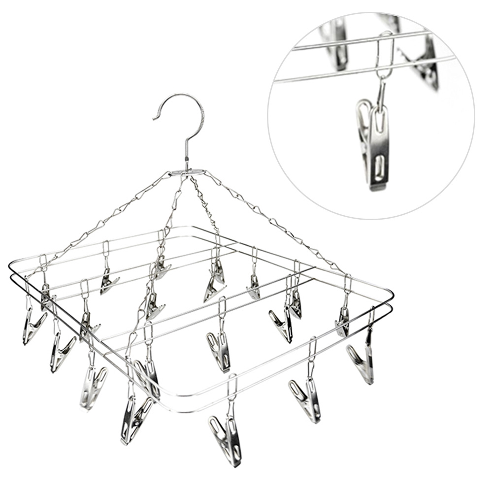 20 Pegs Stainless Steel Sock Clothes Clip Airer Dryer Underwear Hanger Rack