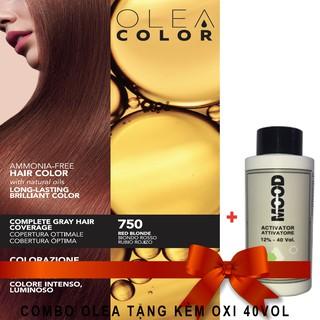 [VÀNG ÁNH ĐỎ + OXI 40VOL] Kem nhuộm dưỡng tóc không Amoniac Olea Color Màu 750 - Made In Italia HSD 5 năm thumbnail