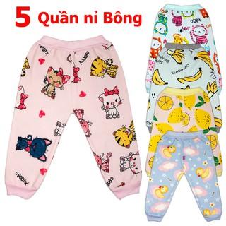 COMBO 5 Quần nỉ bông mùa thu đông  cực đẹp cho bé gái  2-16 kg _QNB, quần nỉ bông cho bé  - 5QNBBG
