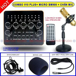 [Mã ELMS4 giảm 7% đơn 500K] COMBO SOUND CARD V10 PLUS BLUETOOTH + MICRO THU ÂM BM900 + KẸP MICRO