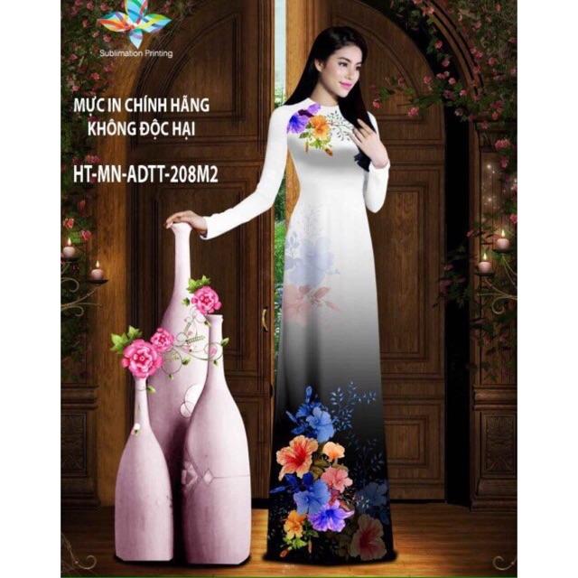 Vải áo dài in hoa 3D