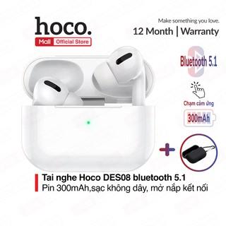 Tai nghe không dây Hoco DES08, V5.1, kết nối 10m, pin 300mAh, định vị, đổi tên - tặng kèm case ( đen )+3 nút cao su