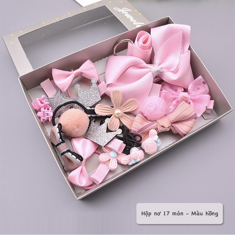 Phụ kiện tóc - Hộp quà nơ kẹp cặp dây chun buộc tóc màu hồng | Shopee Việt  Nam