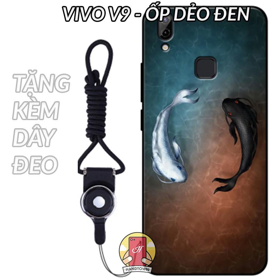 Vivo V9 | Ốp lưng Vivo V9 cao su viền in hình cá chép tặng kèm dây đeo (Phần 10)