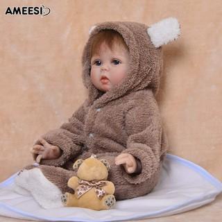 🔅🔆AMEESI 55cm VinylReborn Baby Doll Toy with Ears Hooded Romper