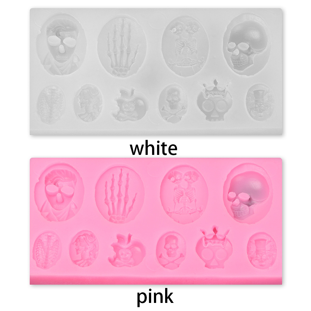 DAPHNE Keychain Making Halloween Resin Mould Festival Supplies Silicone Molds Happy Halloween DIY Ghost Home Decoration Jewelry Craft Skull Hand/Multicolor