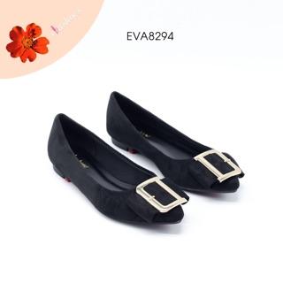 Giày Búp Bê Da Lộn Mũi Nhọn Phối Nơ Evashoes - Eva8294(Màu Đen,Nâu) thumbnail