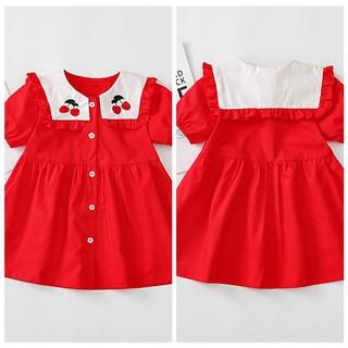Đầm cotton sát nách họa tiết quả cherry xinh xắn dành cho bé gái