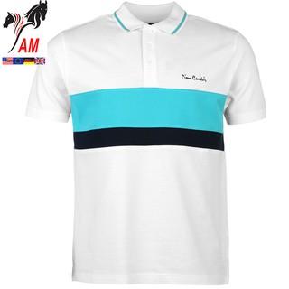 Áo Thun nam PIERRE Cardin Contrasting Stripe Polo Mens Cao Cấp (White/Turq – Size EU – Xách tay UK )