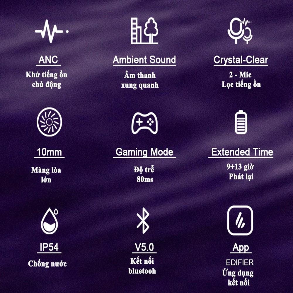 Tai nghe bluetooth cao cấp Edifier TWS NB2 - Chống ồn chủ động ANC
