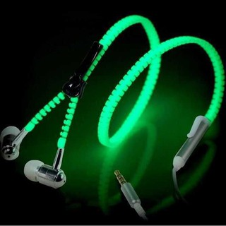 Creative Glowing Metal Zipper Earphones Earbuds headphone With Microphone N FBKO