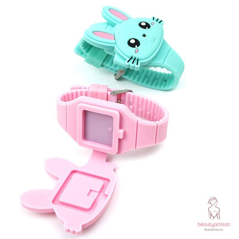 Đồng hồ điện tử dây silicon hình thỏ dễ thương cho bé