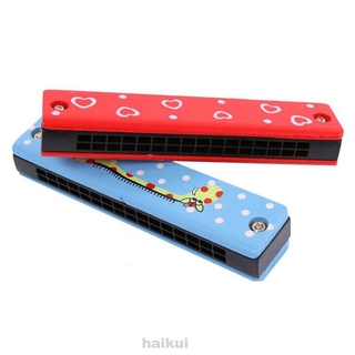 Portable Practice Home Musicial Painted Random Color Wooden Educational Kids Professional Harmonica