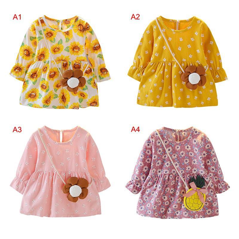 Đầm công chúa tay dài xinh xắn dành cho bé gái 1-4 tuổi