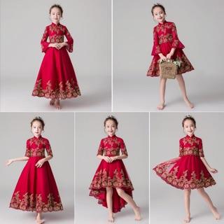Đầm Bé Gái Tay Loe Màu Đỏ Phong Cách Trung Hoa