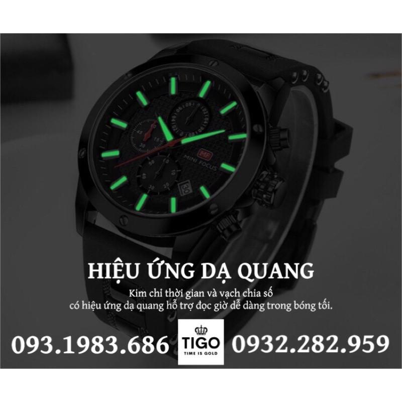 Đồng Hồ Thể Thao Nam MINI FOCUS MF0089G.01 Dây Silicone Đen Chống Nước 6 Kim Cao Cấp - TIGO