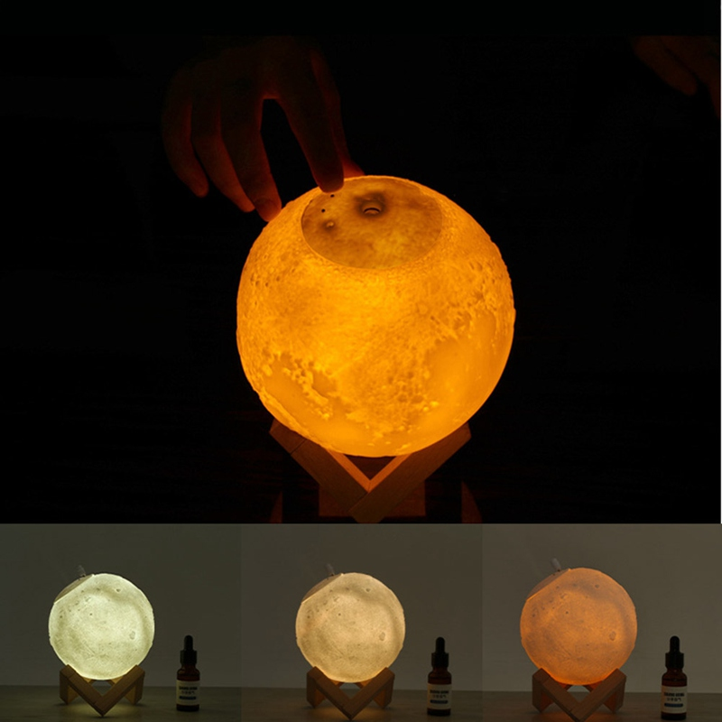 Máy Tạo Độ Ẩm Không Khí Hình Mặt Trăng 3d Có Đèn Led