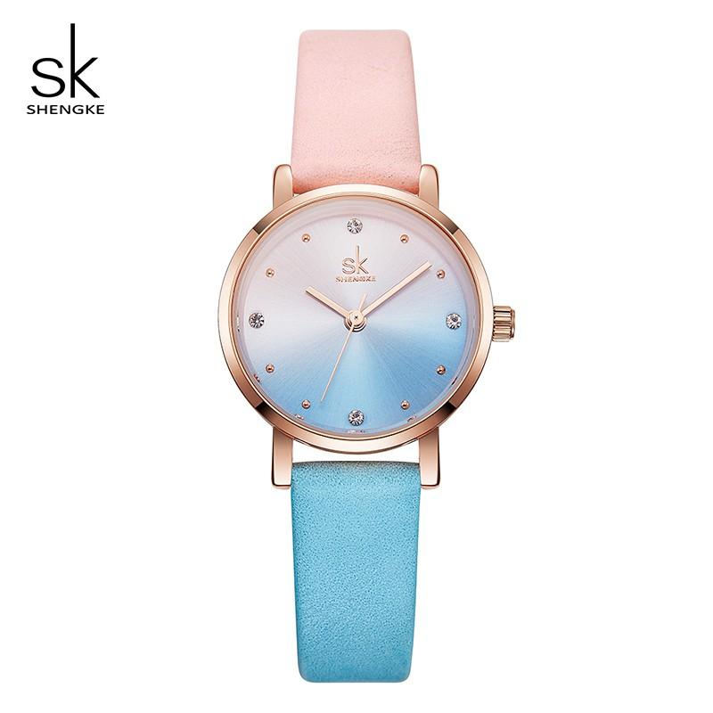 Đồng hồ đeo tay thạch anh Shengke dây da nhiều màu sắc