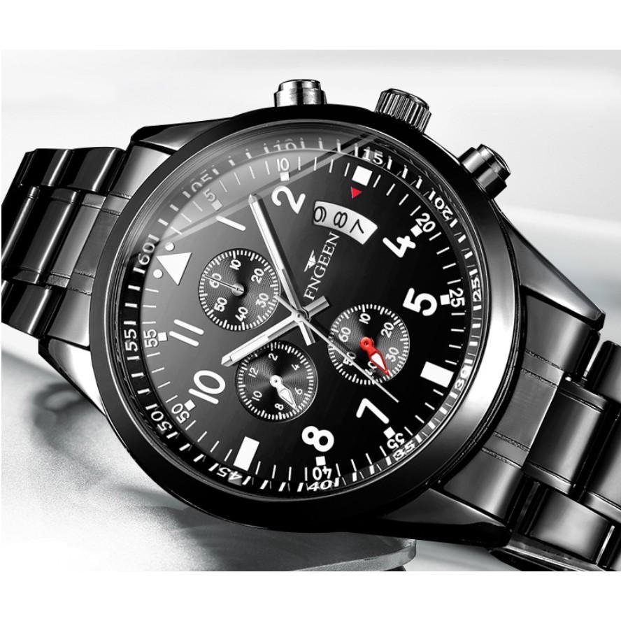 Đồng hồ nam FNGEEN dây thép mạnh mẽ lịch lãm ( Tặng kèm tỳ hưu, tháo mắc đồng hồ, Mã: AF16 )