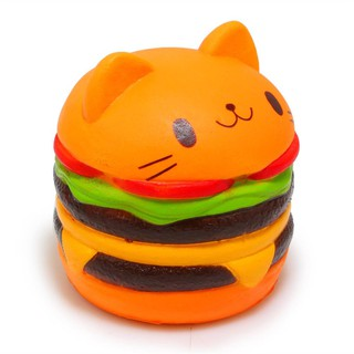 Squishy Slow Rising Scented PU Cat Head Model Hamburger Slow Rebound Squeeze Toys Educational Toys