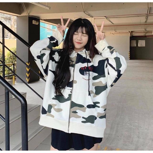 Áo khoác hoodie nỉ khóa kéo hình bò sữa có nón