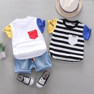Bộ áo thun cotton tay ngắn + quần short denim dành cho bé trai gái 0-5 tuổi