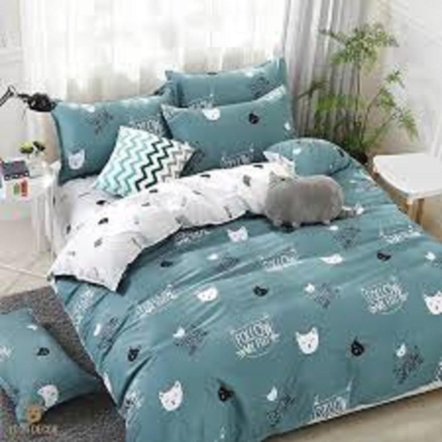 Bộ chăn ga gối cotton poly lidaco mẫu mèo xanh