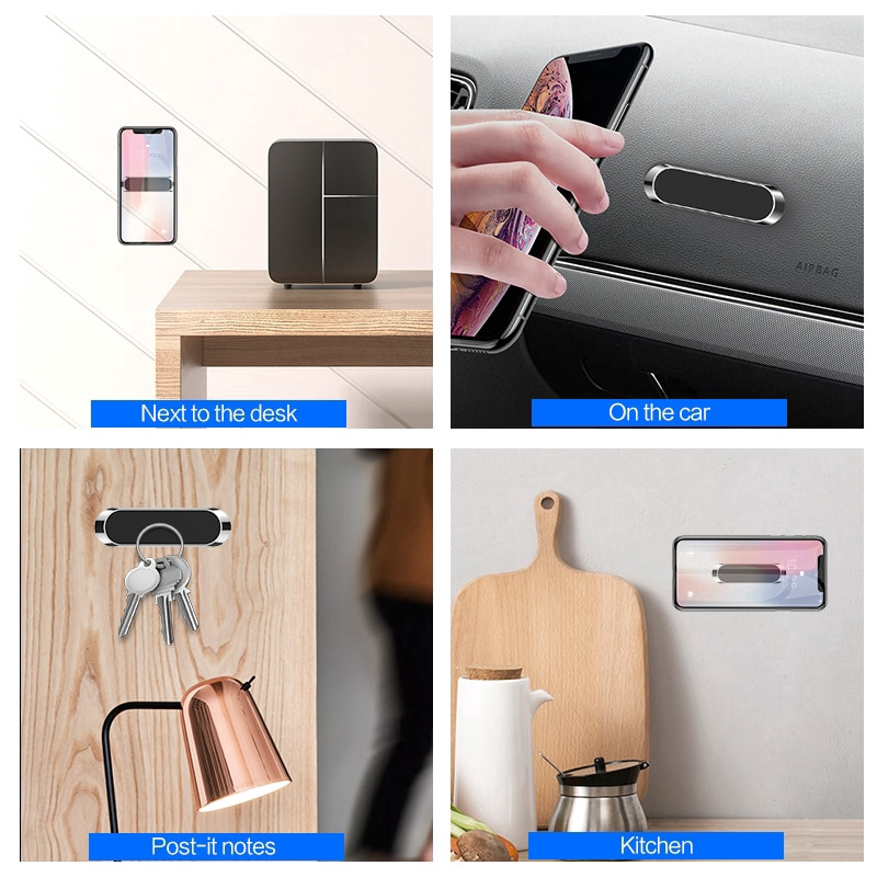 Car Phone Holder Stand For iPhone Samsung Wall Metal Magnet GPS Car Mount Panel Mini Stand Shape Strip