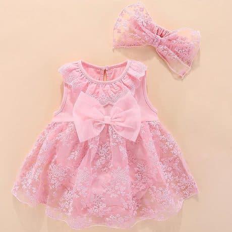Váy hồng hoa kèm nơ cho bé từ 0 - 12