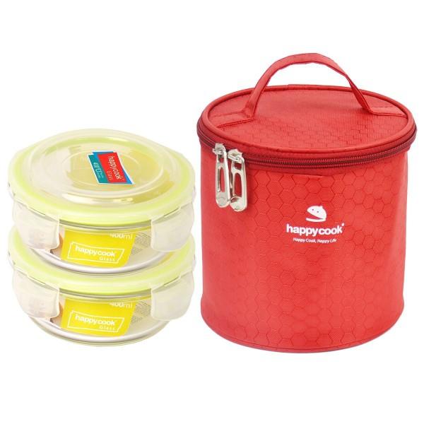 Bộ 2 hộp thủy tinh hình trong 400ml kèm túi giữ nhiệt Happy Cook Glass HCG-02C