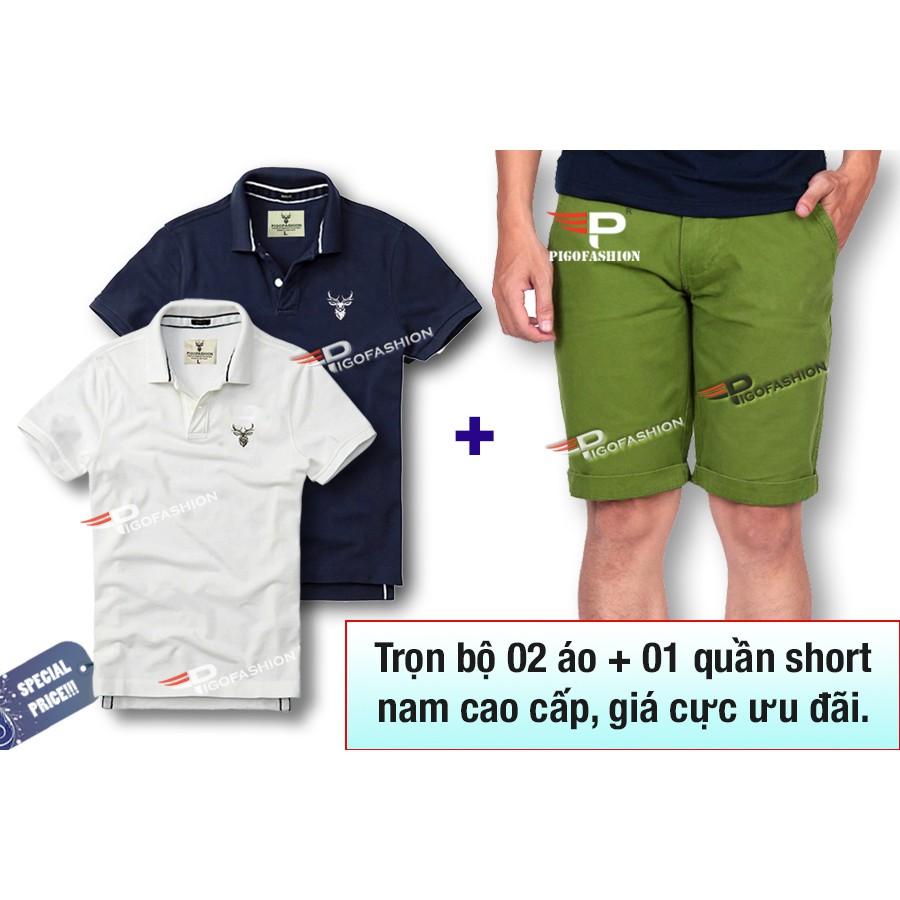Bộ 2 áo thun cổ bẻ + 1 quần short kaki AB03 (Trắng, xanh đen / quần xanh chuối)