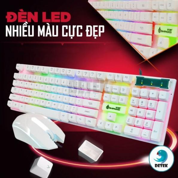 Bàn phím game thủ giả cơ và chuột Shipadoo D280 LED màu Trắng