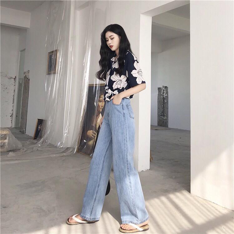[FREESHIP 99K TOÀN QUỐC] Quần Jeans Nữ Ống Rộng Cao Cấp OHS3100