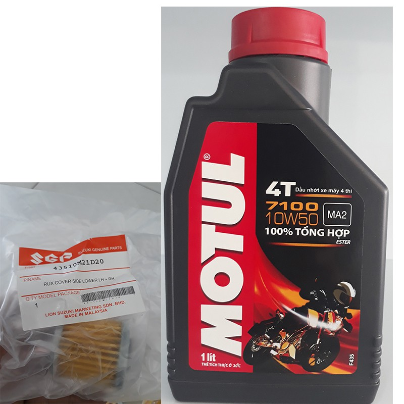 Combo nhớt máy Motul 7100 10W-50 và lọc nhớt Suzuki Axelo