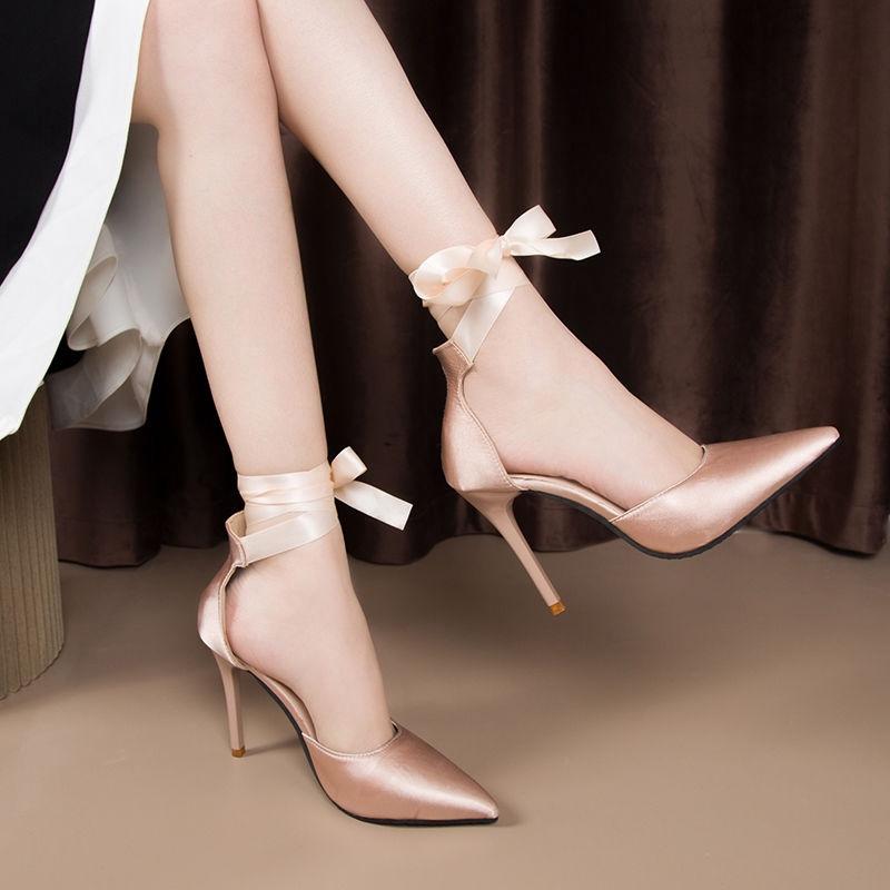 Giày cao gót 10 cm mũi nhọn phối nơ bằng satin phong cách thời trang hàn quốc 2020