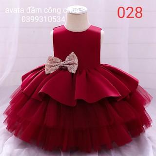 đầm công chúa bé gái , váy bé gái công chúa đỏ tầng dự tiệc thôi nôi sinh nhật