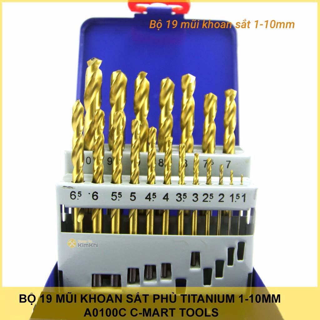 Bộ 19 mũi khoan sắt phủ Titanium 1-10mm A0100C C-Mart Tools chuẩn din 338 - 13716625 , 1240241221 , 322_1240241221 , 360000 , Bo-19-mui-khoan-sat-phu-Titanium-1-10mm-A0100C-C-Mart-Tools-chuan-din-338-322_1240241221 , shopee.vn , Bộ 19 mũi khoan sắt phủ Titanium 1-10mm A0100C C-Mart Tools chuẩn din 338