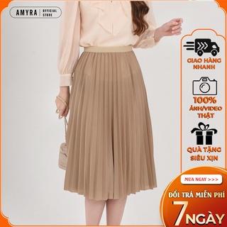 Chân váy dáng dài xếp ly chữ a phong cách trẻ trung công sở cạp chun AMYRA CV006 thumbnail