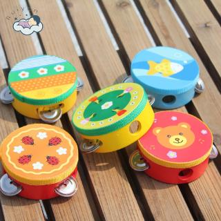 【RYT】Infant Teaching Aids Wooden Hand Drums Children Early Education Musical Instruments Tambourine