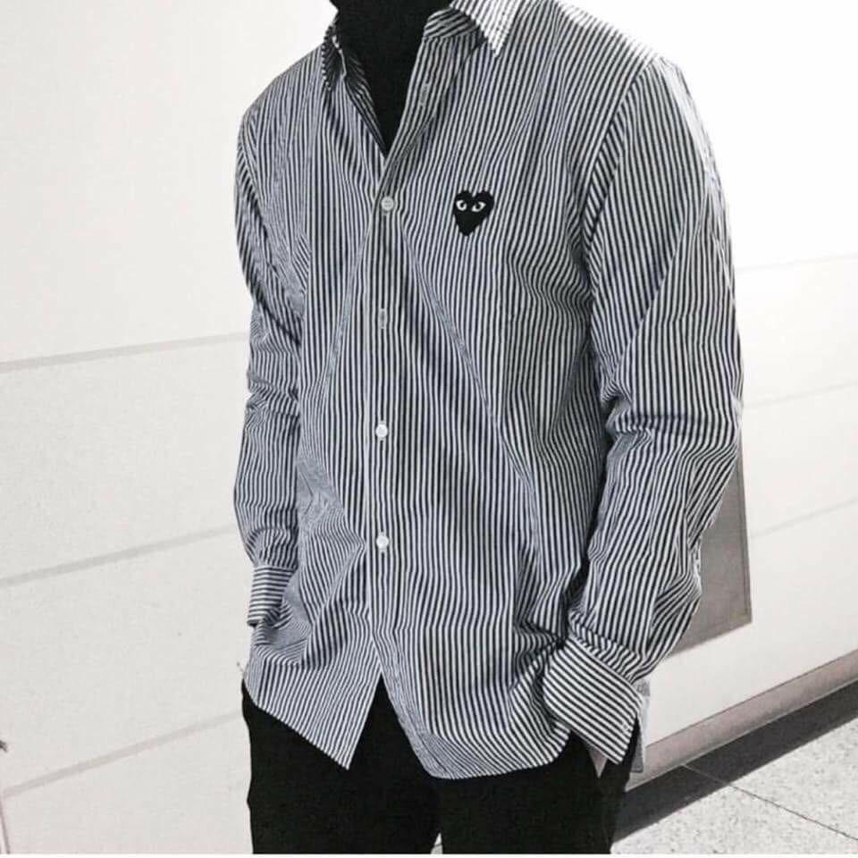 [ Chất lượng ] Áo sơ mi sọc đen tim đen- UNISEX cao cấp - Dài tay