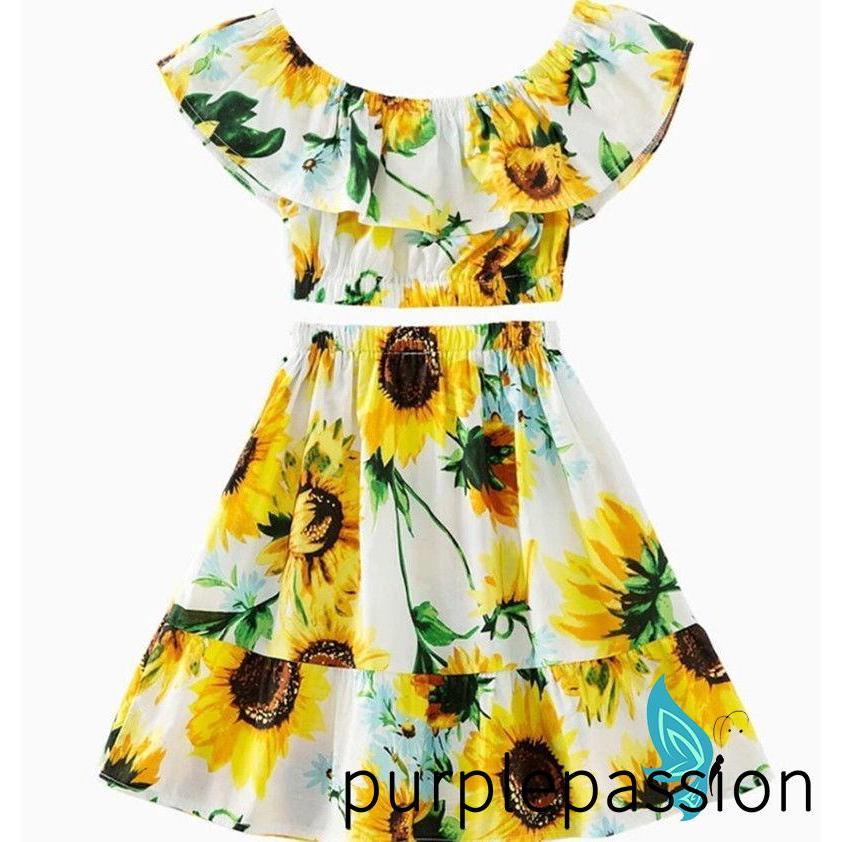 Set áo crop top trễ vai + chân váy hoa dễ thương cho bé gái