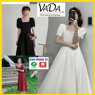 Đầm dự tiệc tay ngắn 2021 màu đen, trắng, đỏ, cổ vuông siêu xinh dễ thương - Thời trang VADA - Đ998 thumbnail
