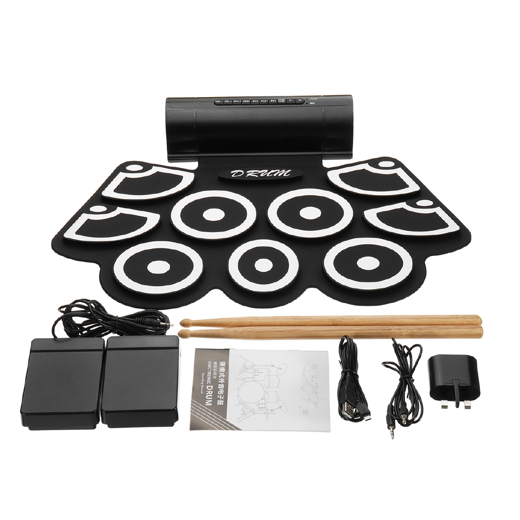 Practice Instrument 9 Beat Built-in Speaker Roll up Electronic Drum Pad Kits