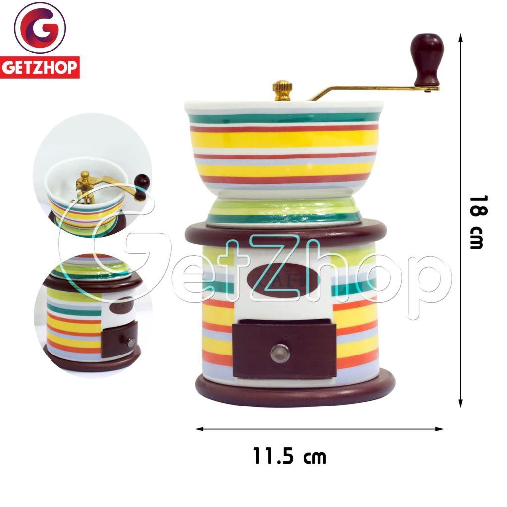 Cooker Rice GetZhop เครื่องบดกาแฟ เซรามิก  ที่บดเมล็ดกาแฟ แบบมือหมุน Vin Style BK-2517 - (Colorful)ooker Rice GetZhop เค